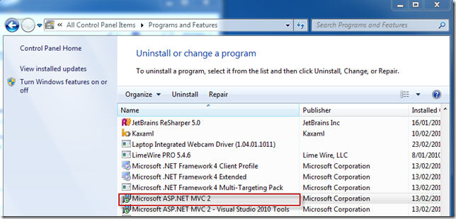 MsHelp » Failed to install ASP NET MVC2 with Visual Studio